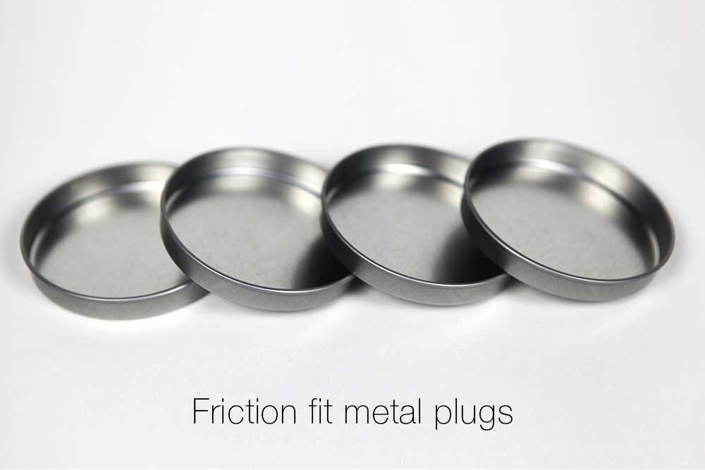 Plastic end plugs paper caps metal
